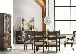 kincaid tuscano dining room set wildfire ember extendable trestle dining table from kincaid 86