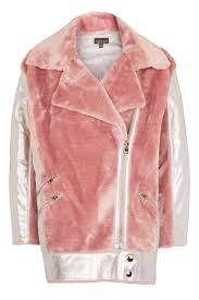 red motorcycle jacket metallic faux fur biker jacket topshop