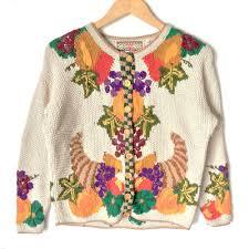 vintage 90s knit cornucopia of yum tacky thanksgiving