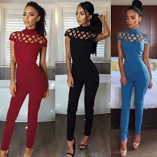 womens dressy jumpsuit jumpsuits for 2018 choker high neck caged rompers
