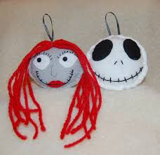 nightmare before skellington and sally ornaments