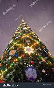 chistmas tree illumination stock photo 606436646