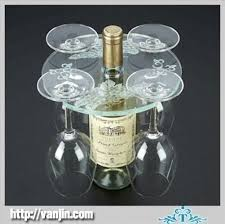 acrylic transparent elegant table top wine rack with glass holder