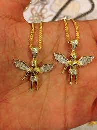 free gold necklace images 2x micro angel 10k gold pendant set w free chains authentic jpg