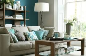 interior apartement beautifully turquoise blue living room