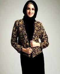 blazer wanita muslimah modern model batik wanita terbaru dan modern untuk ke undangan gaya