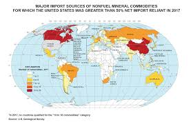 Map Of Countries The Us Relies On These Countries For 50 Or More Of Certain Minerals