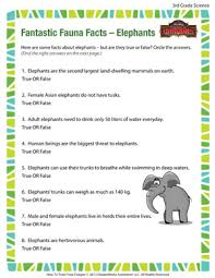 fantastic fauna facts u2013 elephants u2013 3rd grade science worksheets