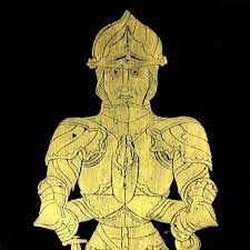 nice vintage brass rubbing of knight in full armor medieval home