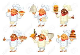 chef de cuisine chef de cuisine servir le plat personnage de dessin animé drôle