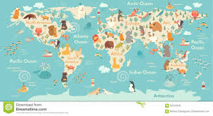 Free Vector World Map by Animals World Map Stock Vector Image 62370378