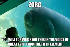 Fifth Element Meme - zorg you will forever read this in the voice of great evil from