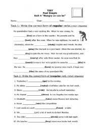 past simple test regular irregular verbs