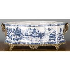 blue and white blue willow porcelain bronze ormolu jardiniere planter