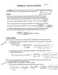 energy calculations worksheet energy calculations worksheet 1