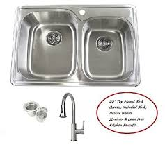 Top Kitchen Sink 33 Inch Stainless Steel Top Mount Drop In 60 40 Bowl