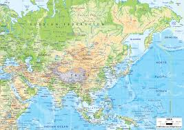Asia Continent Map by Physical Map Of Asia And Asian Countries Maps Pinterest