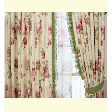 chic curtain with floral pattern and green color