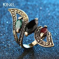 women big rings images Vintage big ring antique gold color mosaic colorful resin rings jpg