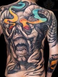 satan skull and on back