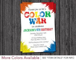 color war invitation u2022 color run birthday party invitations by
