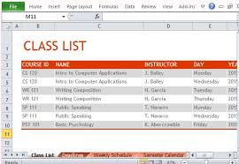 Class Schedule Excel Template How To Create Semester Schedule In Excel