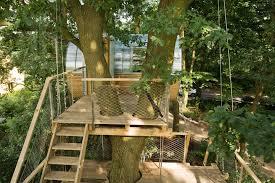 baumraum places elliptical pod around two oaks for treehouse djuren