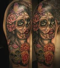 gorgeous flowers and sugar skull sleeve tattoos in 2017