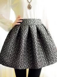 high waisted skirts gray embossed geometric pattern high waist skater skirt abaday