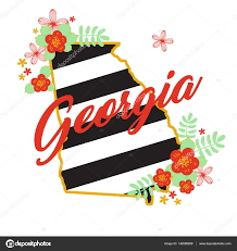 Georgia State Map by Georgia State Map Creative Vector Typography Lettering Composition