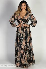maxi dress with sleeves cherish black floral sleeve semi sheer chiffon maxi dress
