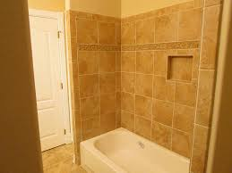 Bathroom Tub Tile Ideas Tile Tub Shower Combo Oversized With Light Blue Shelves And Large