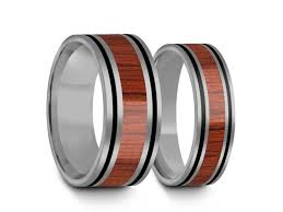 matching wedding bands his and hers tungsten matching wedding band set hawaiian koa wood matching