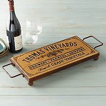 monogrammed serving trays personalized barrel stave serving tray wine enthusiast