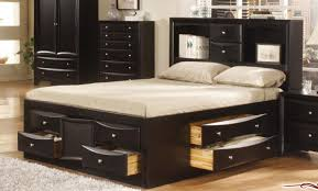 Bed Frames With Storage Drawers And Headboard Fabulous King Size Bed Frame With Storage Drawer And Bookcase
