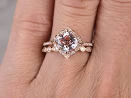 7mm diamond 2pcs morganite bridal ring set engagement ring gold diamond