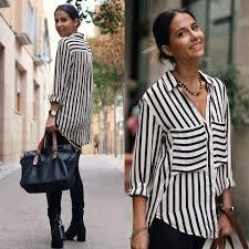 black and white striped blouse milagros plaza striped blouse zara black panel leather