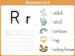 alphabet tracing worksheet writing az stock vector art 510378061