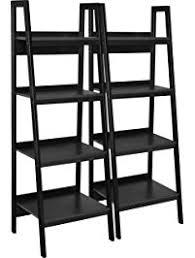 Distressed Black Bookcase Ladder Bookcases Amazon Com