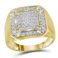 gold square rings images 10kt yellow gold mens round diamond square cluster ring 1 3 cttw jpg