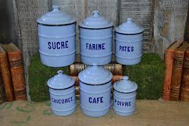 enamel kitchen canisters vintage light blue enamel canisters set of 6 kitchen