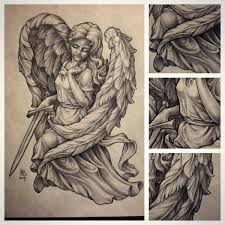 pencil drawing of an angel statue art
