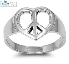 valentines day ring heart peace sign hippie s day ring solid 925 sterling