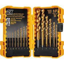 dewalt dw1354 14 piece titanium drill bit set brad point bits