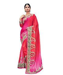 hot pink colour designer saree in red and hot pink colour satin fabric with
