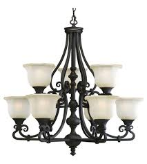 Black Chandelier Lamps Progress P4585 80 Guildhall 9 Light 32 Inch Forged Black