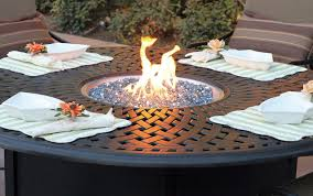 Patio Sets With Fire Pit Round Propane Fire Pit On Patio Table Set Part Of Furniture