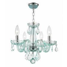 blue crystal chandelier light w83100c16 cb clarion 4 light chrome finish coral blue crystal chandelier