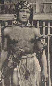 early photos of tribal tattoos in borneo