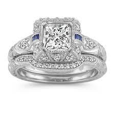 princess cut wedding set vintage halo princess cut sapphire and diamond wedding set